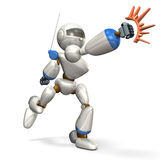 Tremendous punch. White robot is hit.,isolated, computer generated image Royalty Free Stock Photos
