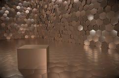 Tremendous vault with heavy golden cube. Tremendous vault with shiny golden cube royalty free illustration