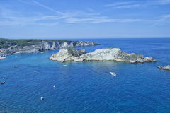 Tremiti islands, Gargano, Apulia, Italy. Bay with boats, view from castle Royalty Free Stock Image