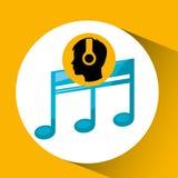 Tremor de escuta da música da silhueta principal ilustração stock