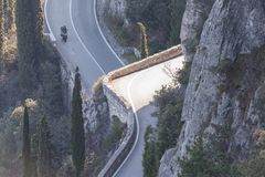 Tremosine road on garda lake royalty free stock photo