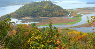 Trempeleau Mountain And River Valley - Wisconsin. Muted autumn overlook on Trempeleau Mountain and the Trempeleau River Valley, from atop Brady`s Bluff in Perrot royalty free stock photos