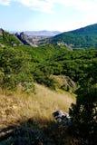 Trempez les pentes herbeuses sur le fond de hautes montagnes sans fin couvertes d'arbres photographie stock libre de droits