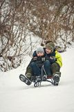 Trenó das crianças no inverno no ar fresco Imagens de Stock Royalty Free