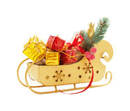 Trenó de Papai Noel com presentes Imagens de Stock Royalty Free