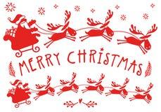 Trenó de Santa Claus com alces, rena do Natal, vetor ilustração stock