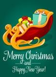Trenó de Santa com o cartão do feriado do Natal da caixa de presente Fotografia de Stock Royalty Free