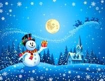Trenó de Santa do anúncio do boneco de neve Fotografia de Stock Royalty Free