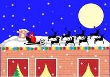Trenó de Santa no telhado Fotos de Stock