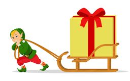 Trenó do duende do Natal dos desenhos animados do vetor com caixa de presente Imagem de Stock