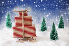 Trenó do Natal na neve com fundo e os flocos de neve azuis Fotografia de Stock