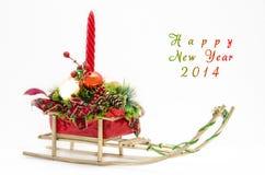 Trenós do ano novo feliz 2014 Foto de Stock Royalty Free