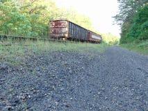 Tren abandonado en vía abandonada Fotografía de archivo