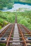 Tren abandonado viejo en la manera a Trolltunga, Noruega imagen de archivo libre de regalías