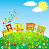 Tren coloreado del juguete con los cabritos felices stock de ilustración