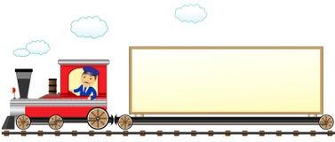 Tren con el conductor y espacio para el texto Imagen de archivo libre de regalías