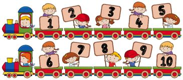Tren con el número uno a diez stock de ilustración
