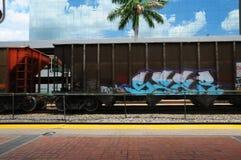 Tren con la pintada en la Florida Fotografía de archivo libre de regalías