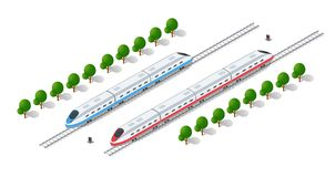 Tren de alta velocidad moderno rápido stock de ilustración