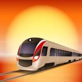 Tren de alta velocidad. Tiempo de la puesta del sol. Fotos de archivo