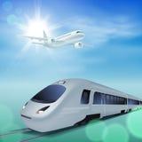 Tren de alta velocidad y aeroplano en el cielo Día asoleado stock de ilustración