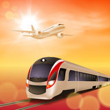 Tren de alta velocidad y aeroplano. Tiempo de la puesta del sol. Fotos de archivo