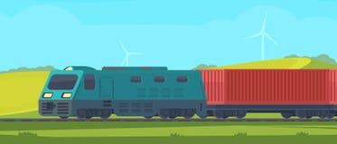 Tren de carga con el envase en el coche ferroviario Transporte por el ferrocarril Paisaje de la naturaleza en un área montañosa V stock de ilustración