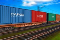 Tren de carga con los contenedores para mercancías Imagen de archivo libre de regalías