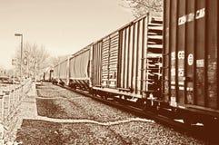 Tren de carga de la vendimia Fotos de archivo libres de regalías