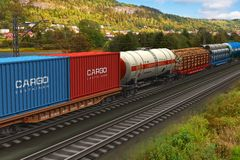 Tren de carga que pasa por el rango de montaña stock de ilustración