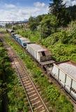 Tren de carga visto desde arriba Foto de archivo libre de regalías