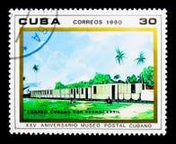 Tren de correo, museo postal cubano, 25to serie del aniversario, circa 1 Imagen de archivo