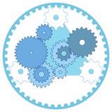 Tren de engranaje del esquema de la ingeniería industrial y engranajes planetarios ilustración del vector
