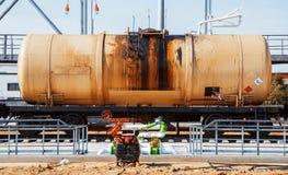 Tren de ferrocarril de los coches negros del petrolero Fotografía de archivo libre de regalías