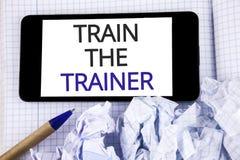 Tren de la demostración de la muestra del texto el instructor E foto de archivo libre de regalías