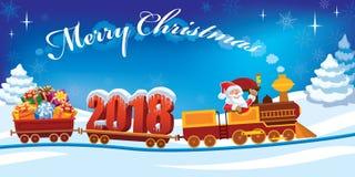 Tren 2018 de la Navidad stock de ilustración