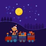 Tren de la Navidad con los regalos stock de ilustración