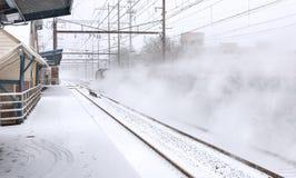 Tren de la nieve de Metuchen Fotos de archivo libres de regalías