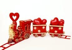Tren de la tarjeta del día de San Valentín Fotografía de archivo