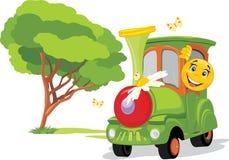 Tren de los niños en parque de atracciones La niñez soleada está siempre conmigo ilustración del vector