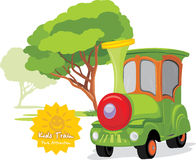 Tren de los niños en parque de atracciones stock de ilustración