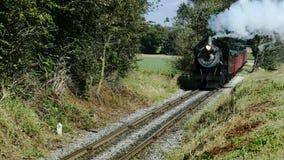 Tren de pasajeros del vapor que sopla a lo largo de las tierras de cultivo y del campo de Amish metrajes