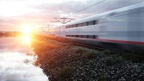 Tren de pasajeros eléctrico Conducción muy rápida Concepto del viaje y del viaje representación 3d Imagenes de archivo
