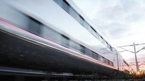 Tren de pasajeros eléctrico Conducción muy rápida Concepto del viaje y del viaje representación 3d Foto de archivo