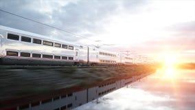 Tren de pasajeros eléctrico Conducción muy rápida Concepto del viaje y del viaje representación 3d Foto de archivo libre de regalías