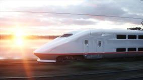 Tren de pasajeros eléctrico Conducción muy rápida Concepto del viaje y del viaje representación 3d Fotografía de archivo libre de regalías