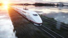 Tren de pasajeros eléctrico Conducción muy rápida Concepto del viaje y del viaje representación 3d Fotos de archivo libres de regalías