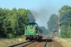 Tren de pasajeros que pasa a través de campo Fotos de archivo libres de regalías