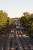 Tren de pasajeros que se mueve entre los árboles imagen de archivo libre de regalías