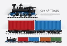 Tren del cargo en un ferrocarril Fotos de archivo